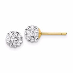 🎁14k 6mm Round Swarovski Crystal Post Earrings